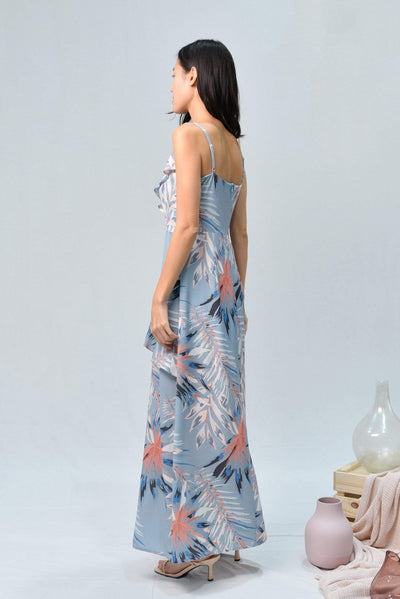 AWE Dresses MANDY DUSTY BLUE FLORAL RUFFLE SLIT MAXI DRESS