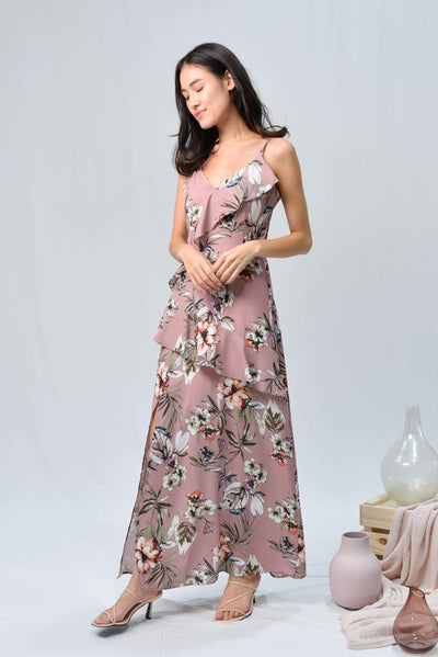 AWE Dresses MANDY PINK FLORAL RUFFLE SLIT MAXI DRESS