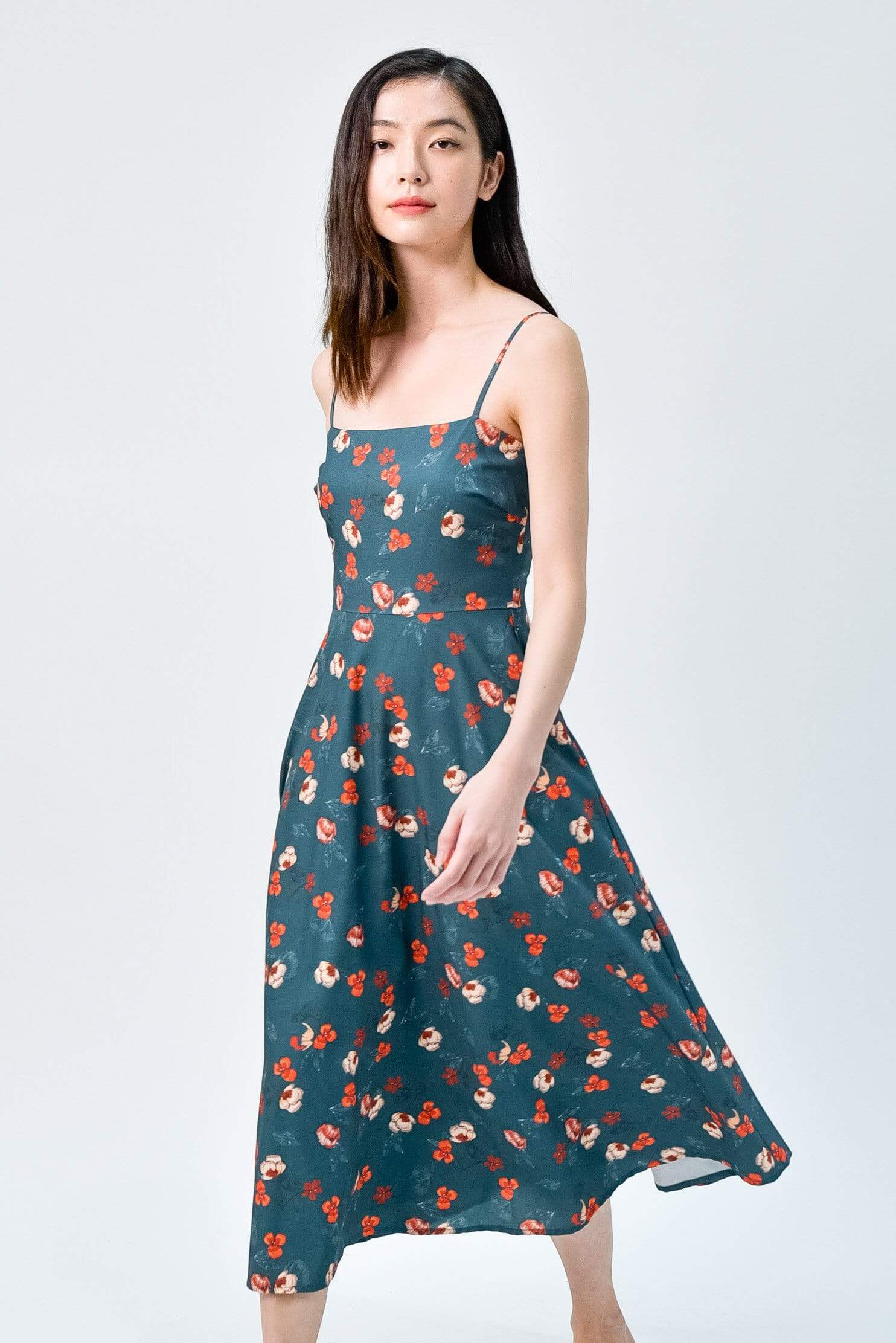 AWE Dresses MAPLE FOREST FLORAL FIT AND FLARE MIDI DRESS