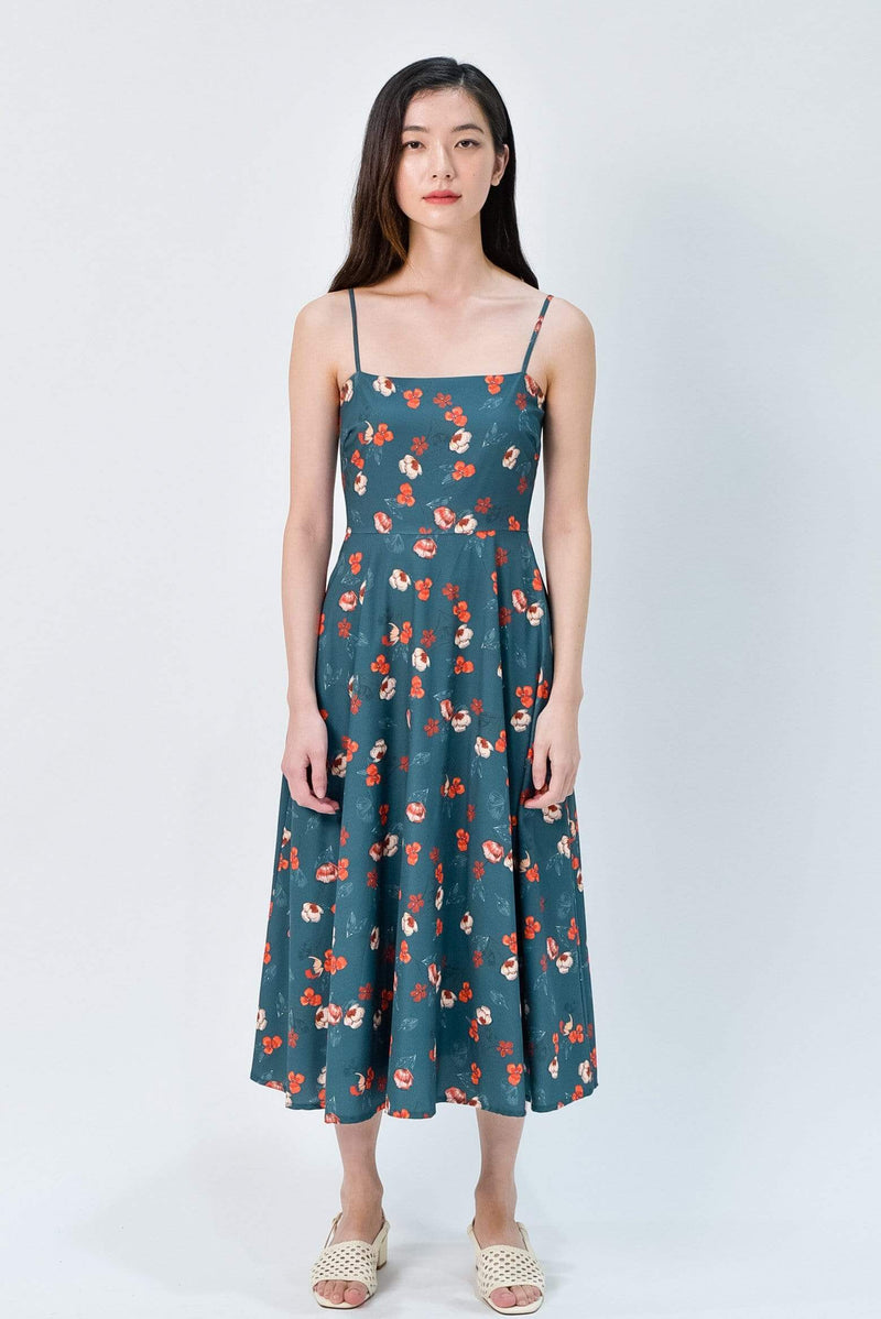 MAPLE FOREST FLORAL FIT AND FLARE MIDI DRESS