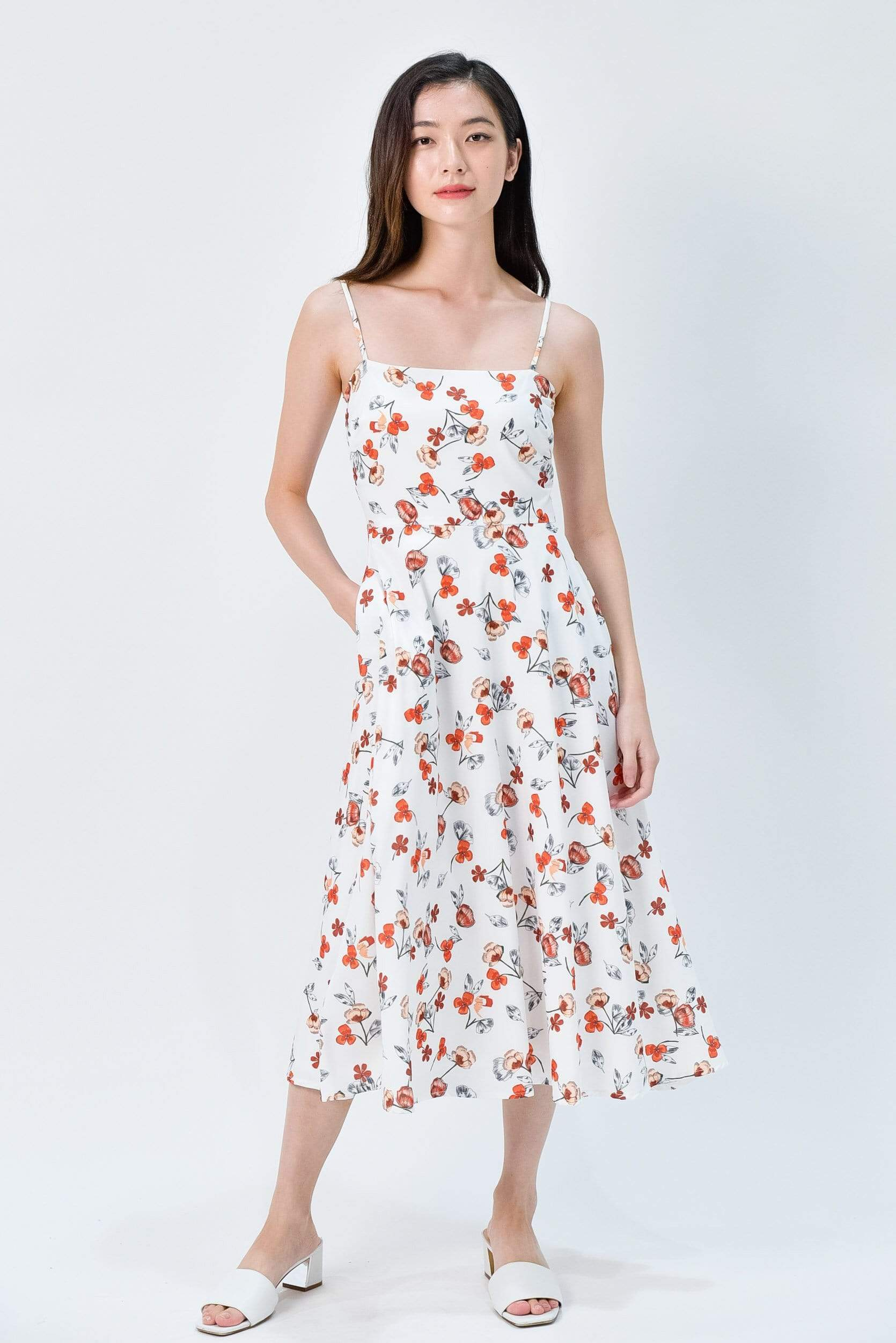 MAPLE WHITE FLORAL FIT AND FLARE MIDI DRESS