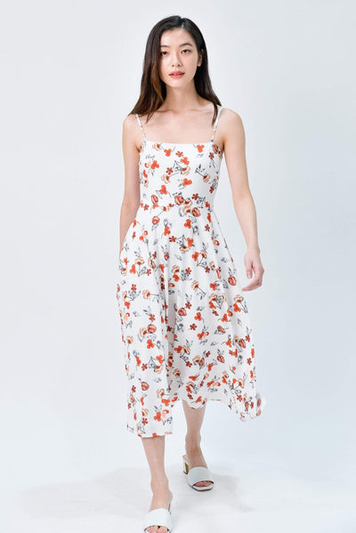 AWE Dresses MAPLE WHITE FLORAL FIT AND FLARE MIDI DRESS