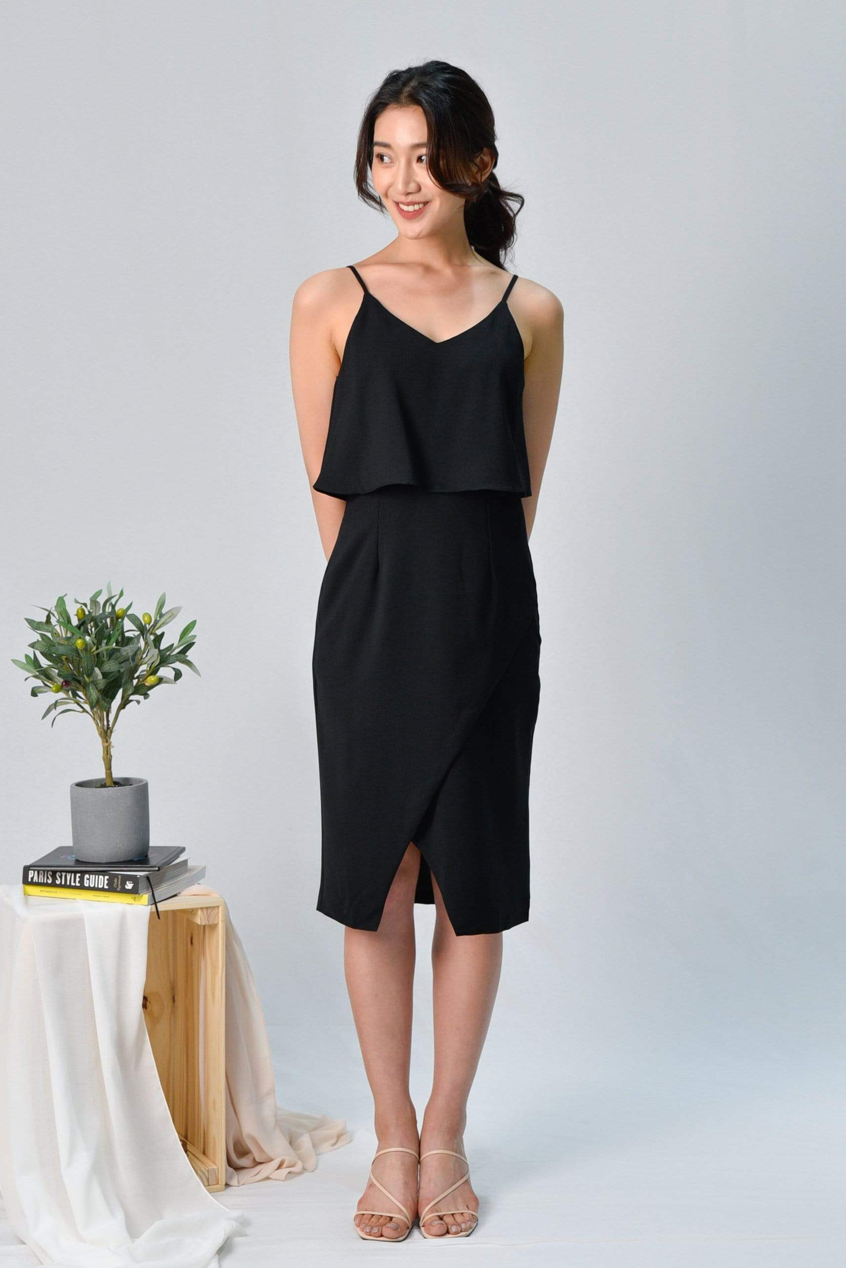 MILIA BLACK OVERLAP SPAG DRESS