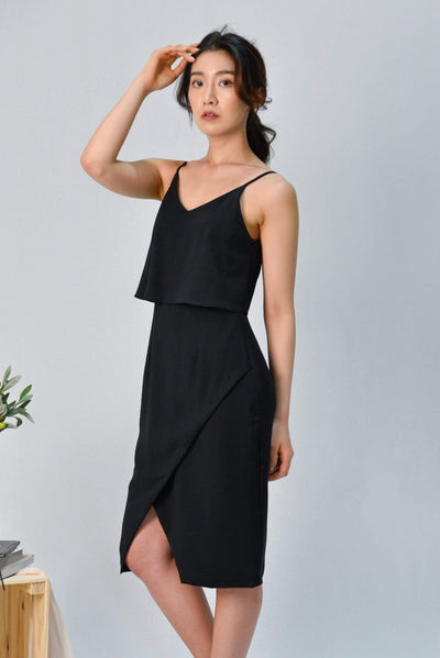 AWE Dresses MILIA BLACK OVERLAP SPAG DRESS