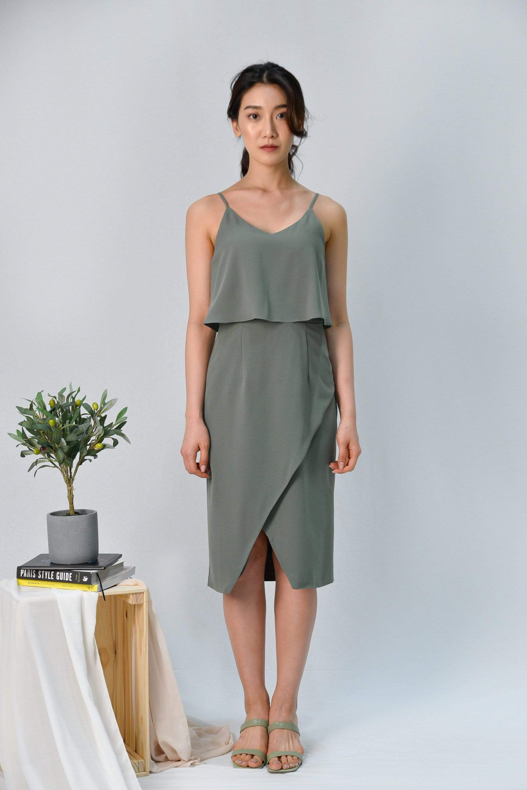 MILIA SAGE OVERLAP SPAG DRESS