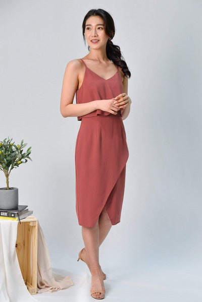 AWE Dresses MILIA TEA ROSE OVERLAP SPAG DRESS
