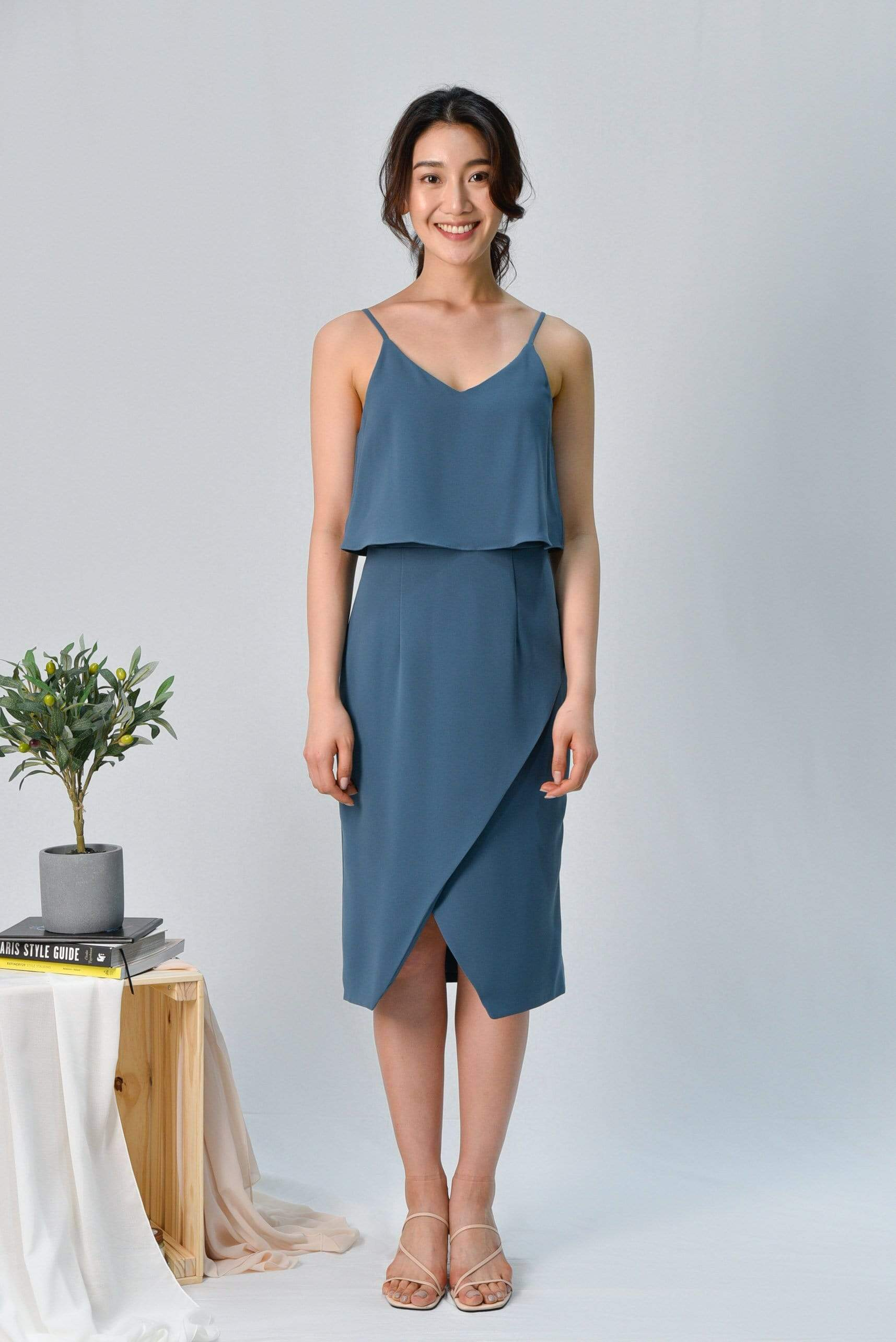 MILIA TEAL OVERLAP SPAG DRESS