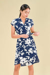 AWE Dresses MISAKI FAUX-WRAP DRESS IN NAVY FLORAL