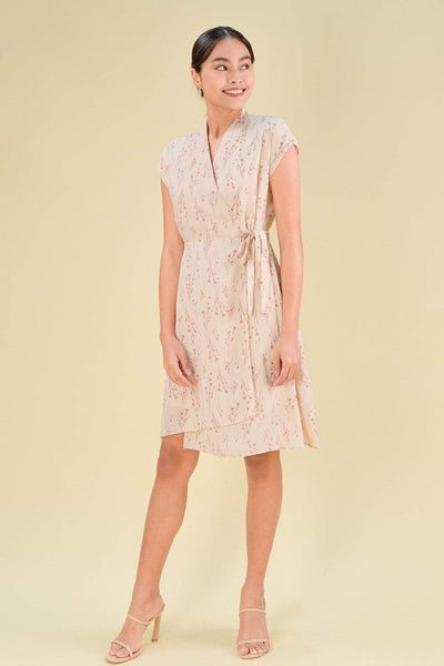 AWE Dresses MISAKI FAUX-WRAP DRESS IN PINK FLORAL