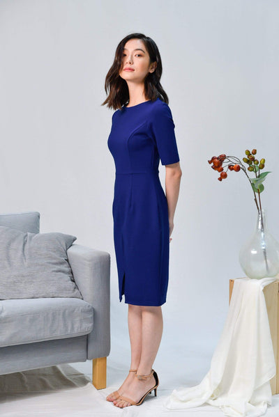 AWE Dresses MORGAN COBALT BLUE SLEEVED PENCIL DRESS