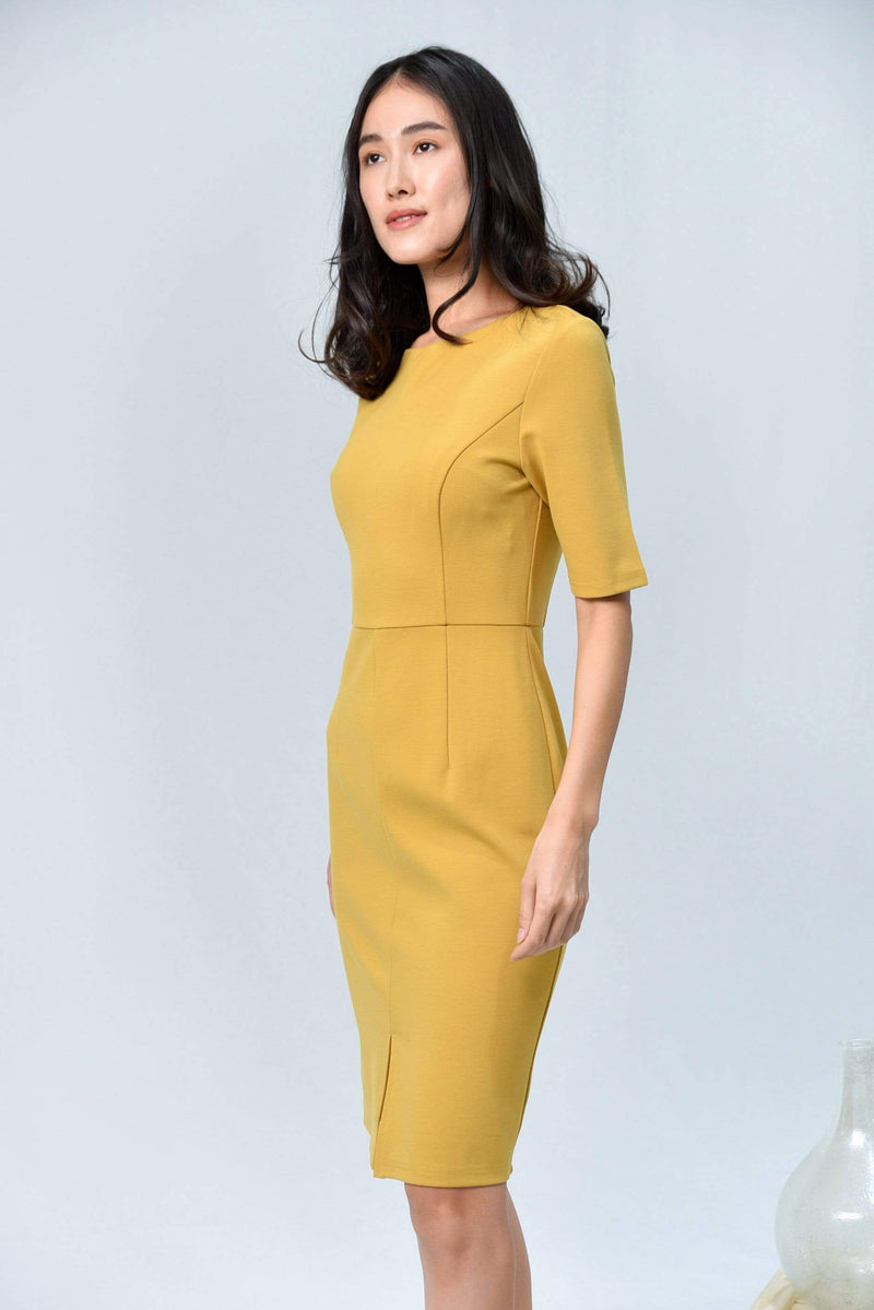 MORGAN HONEY SLEEVED PENCIL DRESS