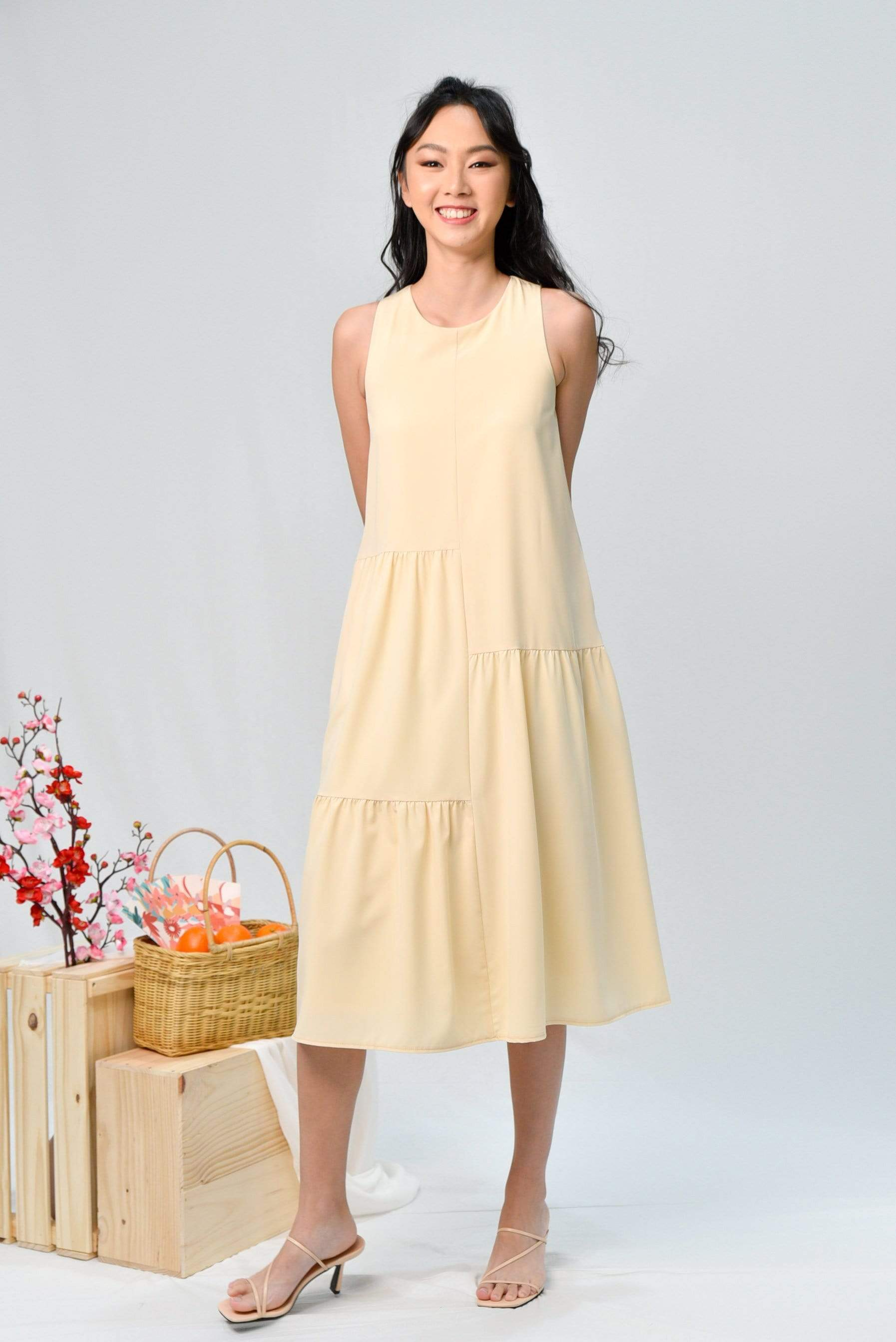 MYRCELLA CREAM STEPPED MIDI DRESS