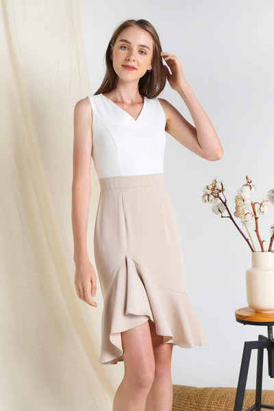 AWE Dresses NELLY WHITE/BEIGE COLOURBLOCK RUFFLE DRESS
