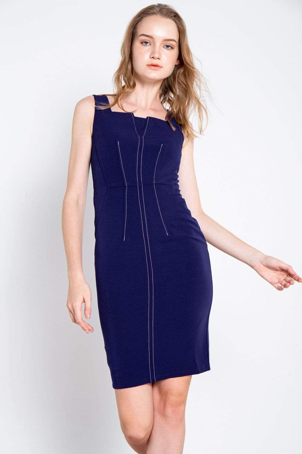 OLIVIA NAVY PENCIL DRESS