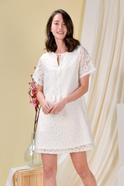 AWE Dresses ORGANZA TASSEL SLEEVED DRESS IN SUNSHINE