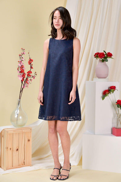 AWE Dresses ORGANZA TRAPEZE DRESS IN NAVY