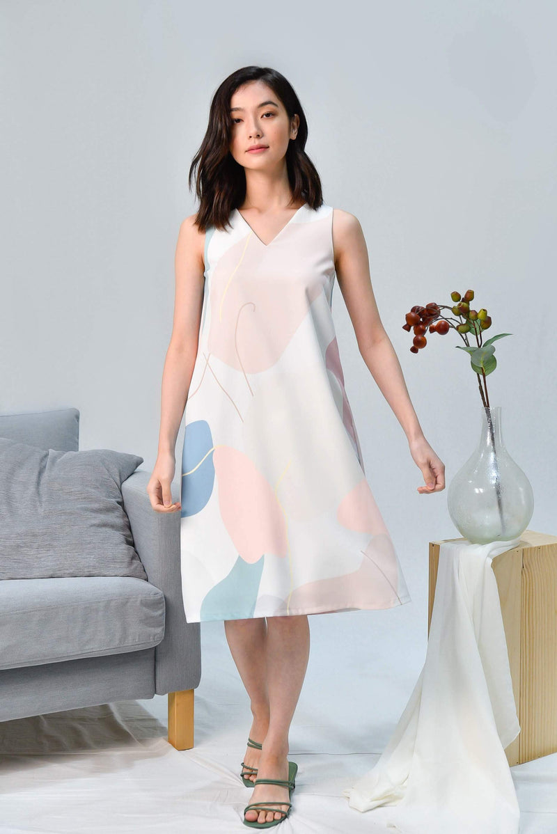 PADDLE POP A-LINE V-NECK DRESS