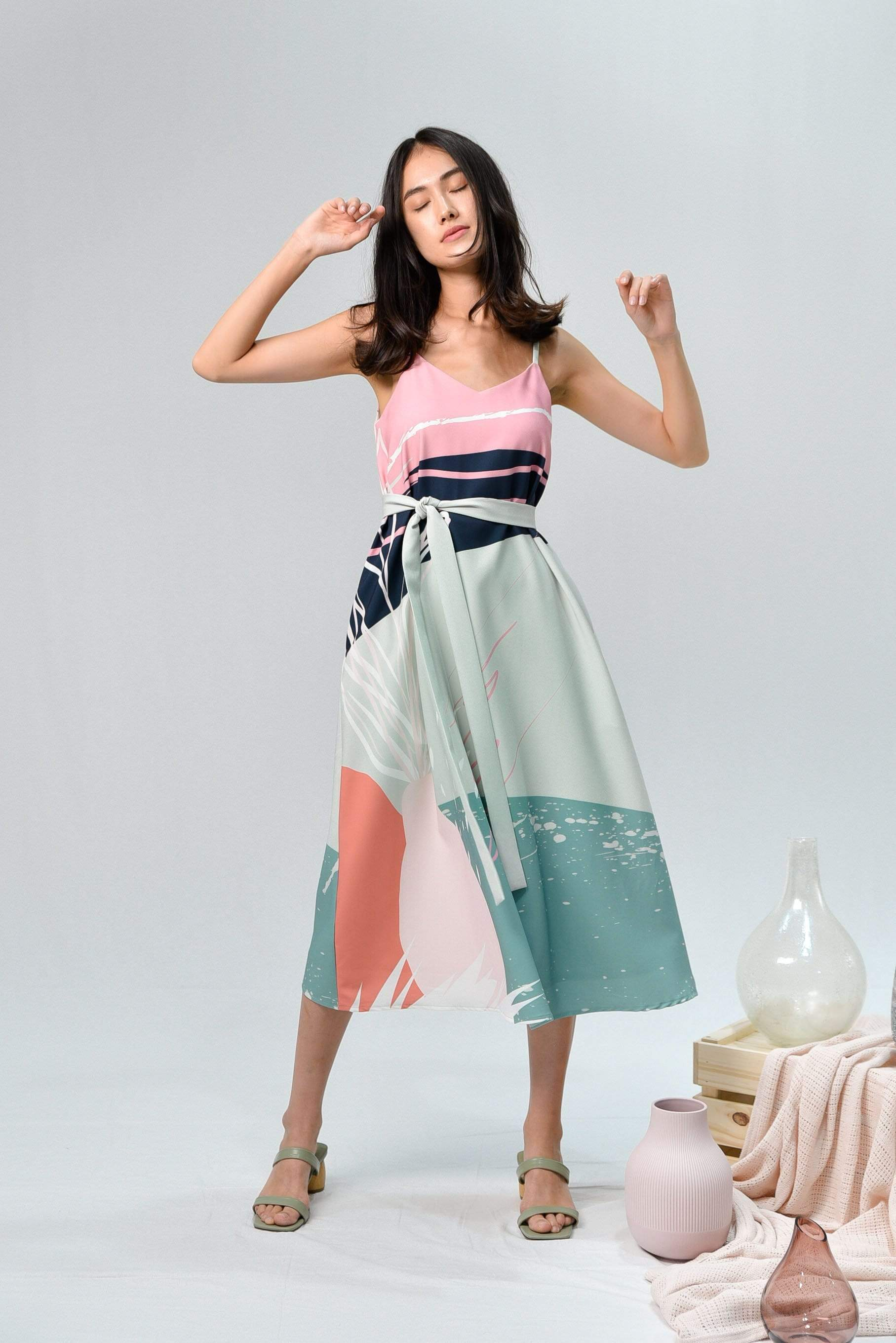 AWE Dresses PAINTER TWO-WAY MIDI DRESS IN AMAZON