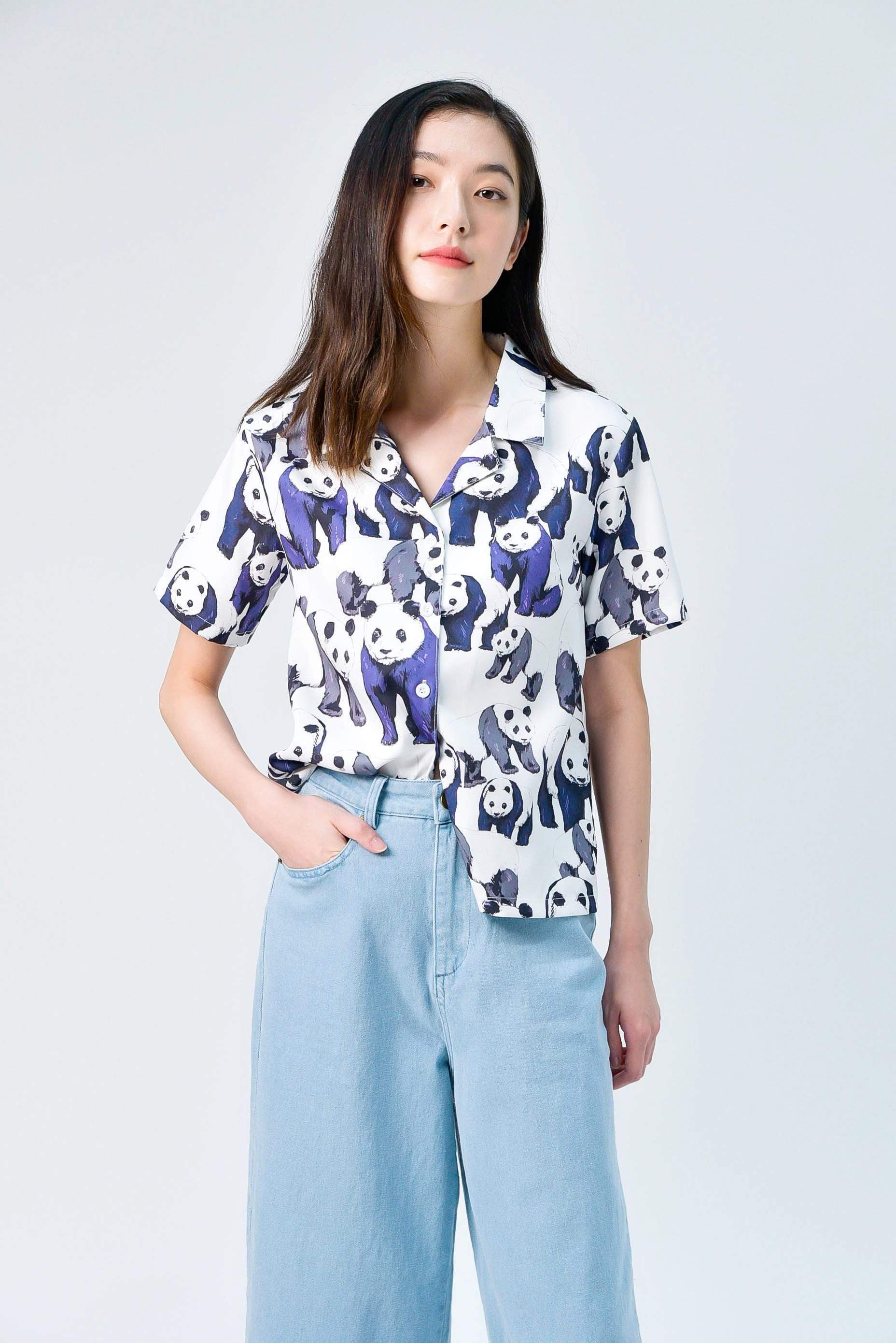 PANDA CAMP-COLLARED SHIRT IN INDIGO