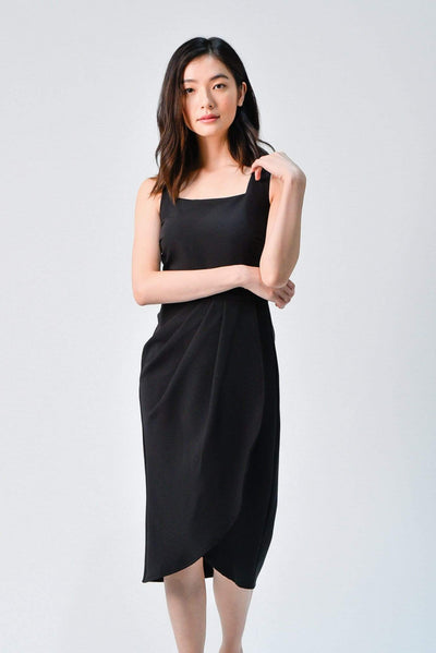 AWE Dresses PENELOPE BLACK WATERFALL DRESS