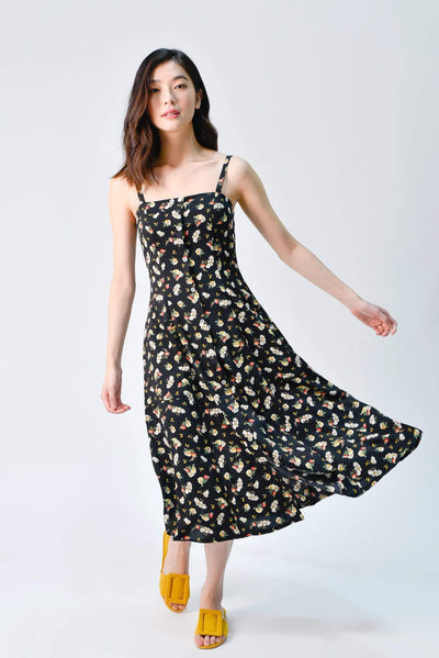 AWE Dresses PENNIE THIN-STRAP POCKET DRESS IN BLACK FLORAL