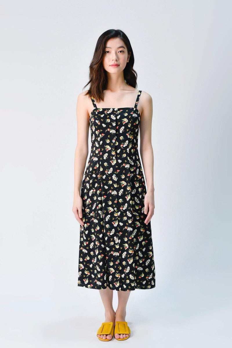 PENNIE THIN-STRAP POCKET DRESS IN BLACK FLORAL
