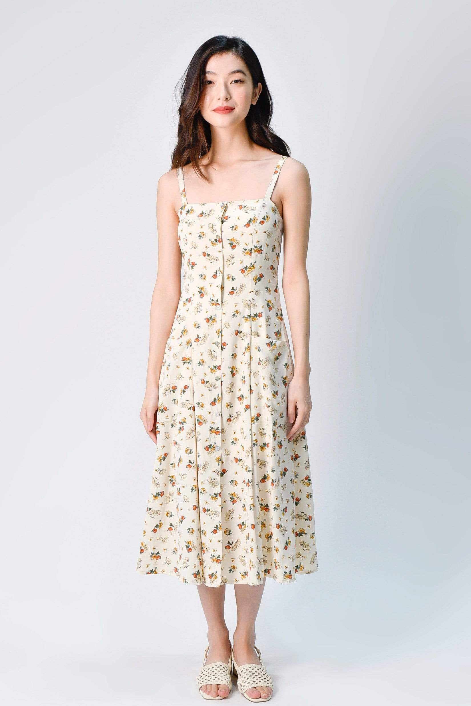 PENNIE THIN-STRAP POCKET DRESS IN CREAM FLORAL