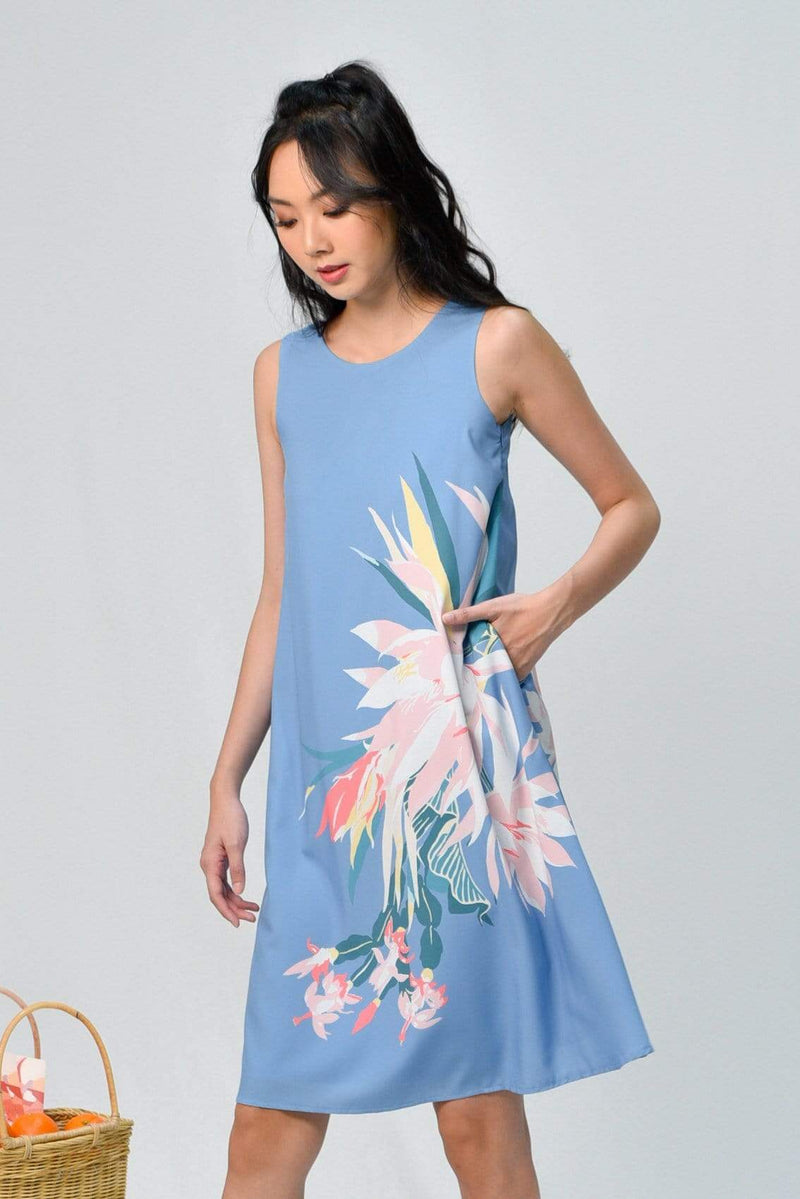 SPRING TWO-WAY A-LINE DRESS IN CORNFLOWER