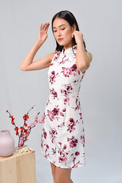 AWE Dresses QING RED FLORAL MOD CHEONGSAM