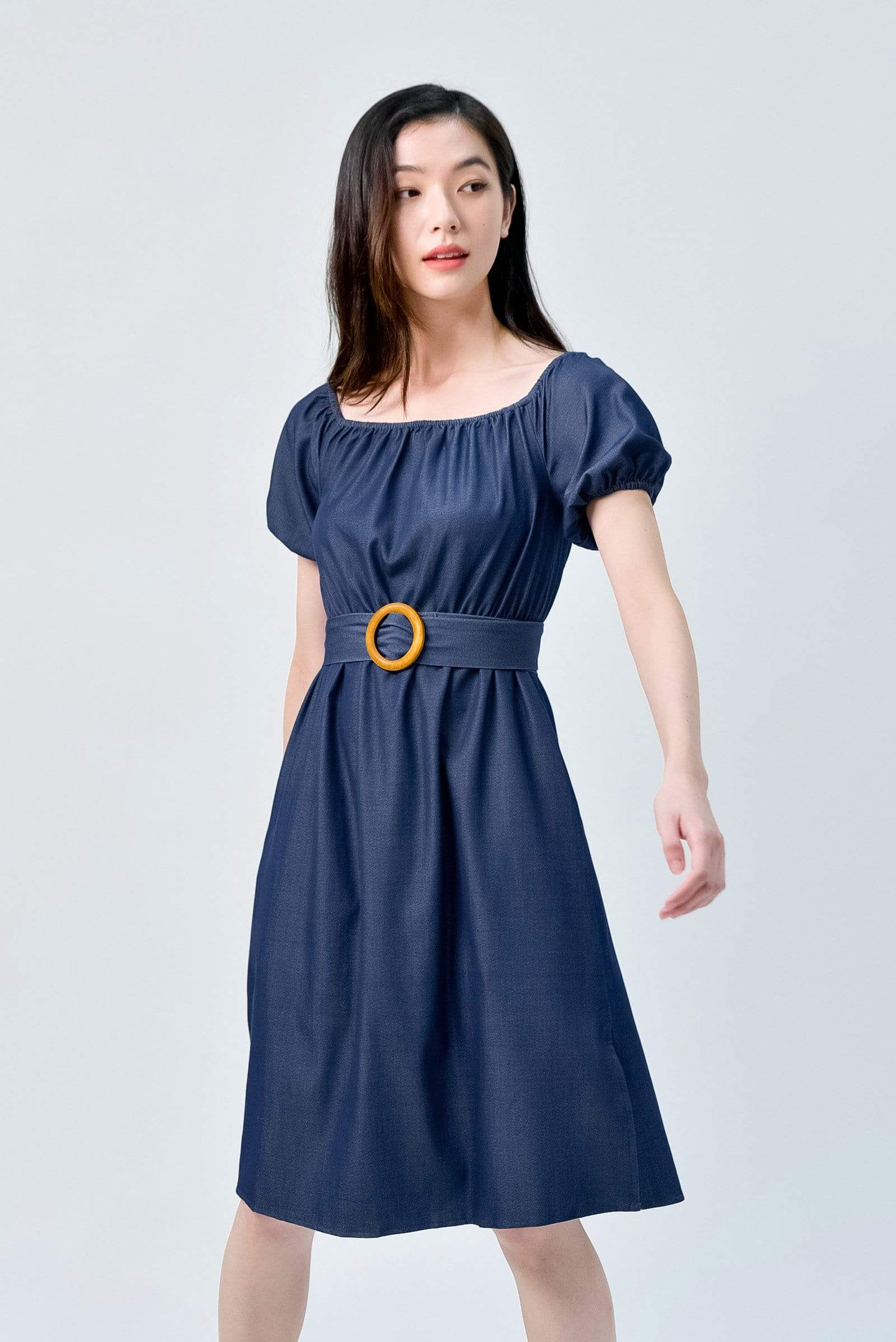 RACHELLE DARK DENIM PUFF-SLEEVES DRESS