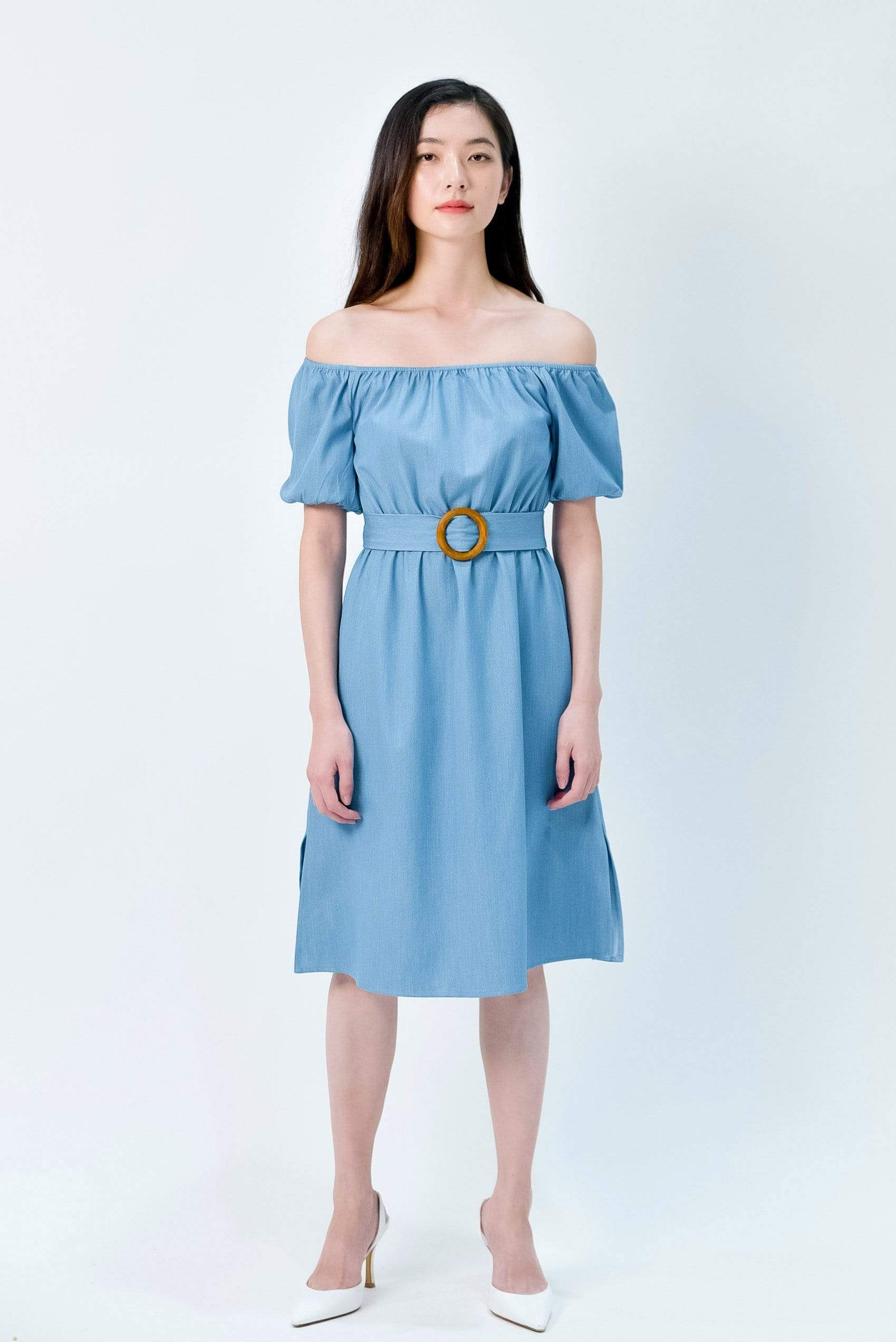 RACHELLE LIGHT DENIM PUFF-SLEEVES DRESS