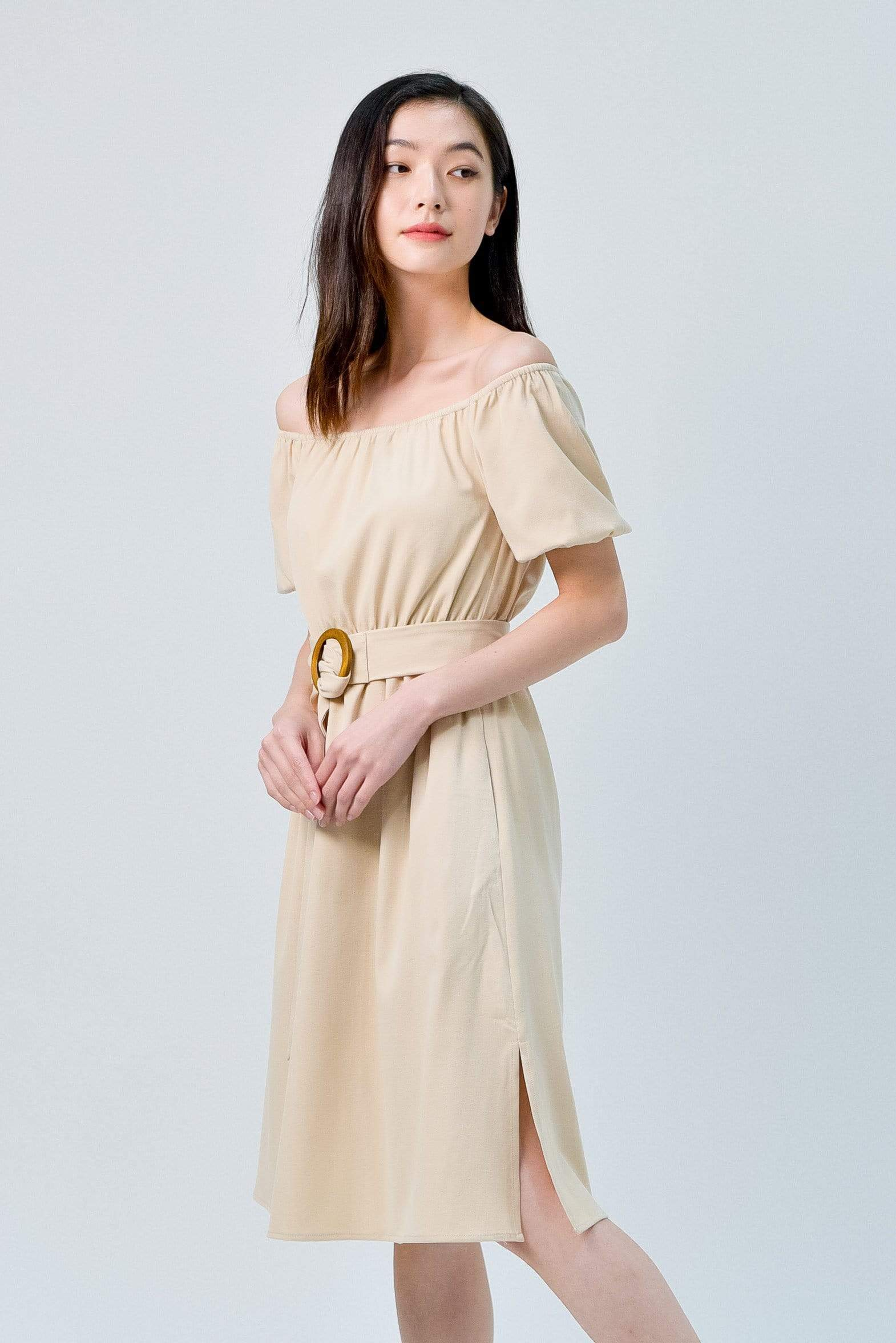 RACHELLE SAND PUFF-SLEEVES DRESS