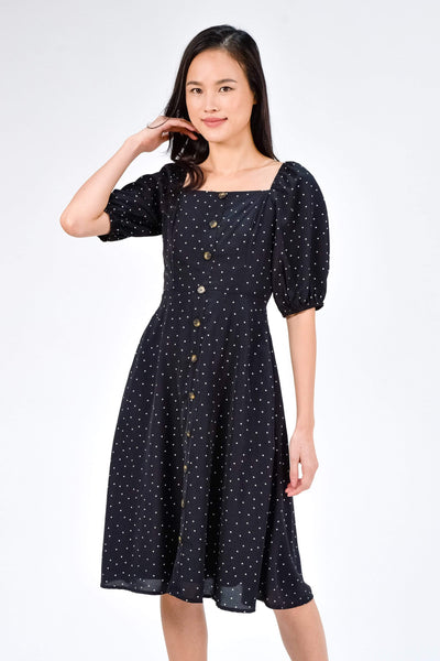 AWE Dresses RAEGAN BLACK POLKA DOT PUFF-SLEEVE MIDI DRESS