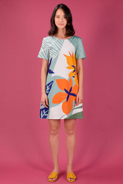 AWE Dresses RAINFOREST TWO-WAY SLEEVED SHIFT DRESS IN BEGONIA