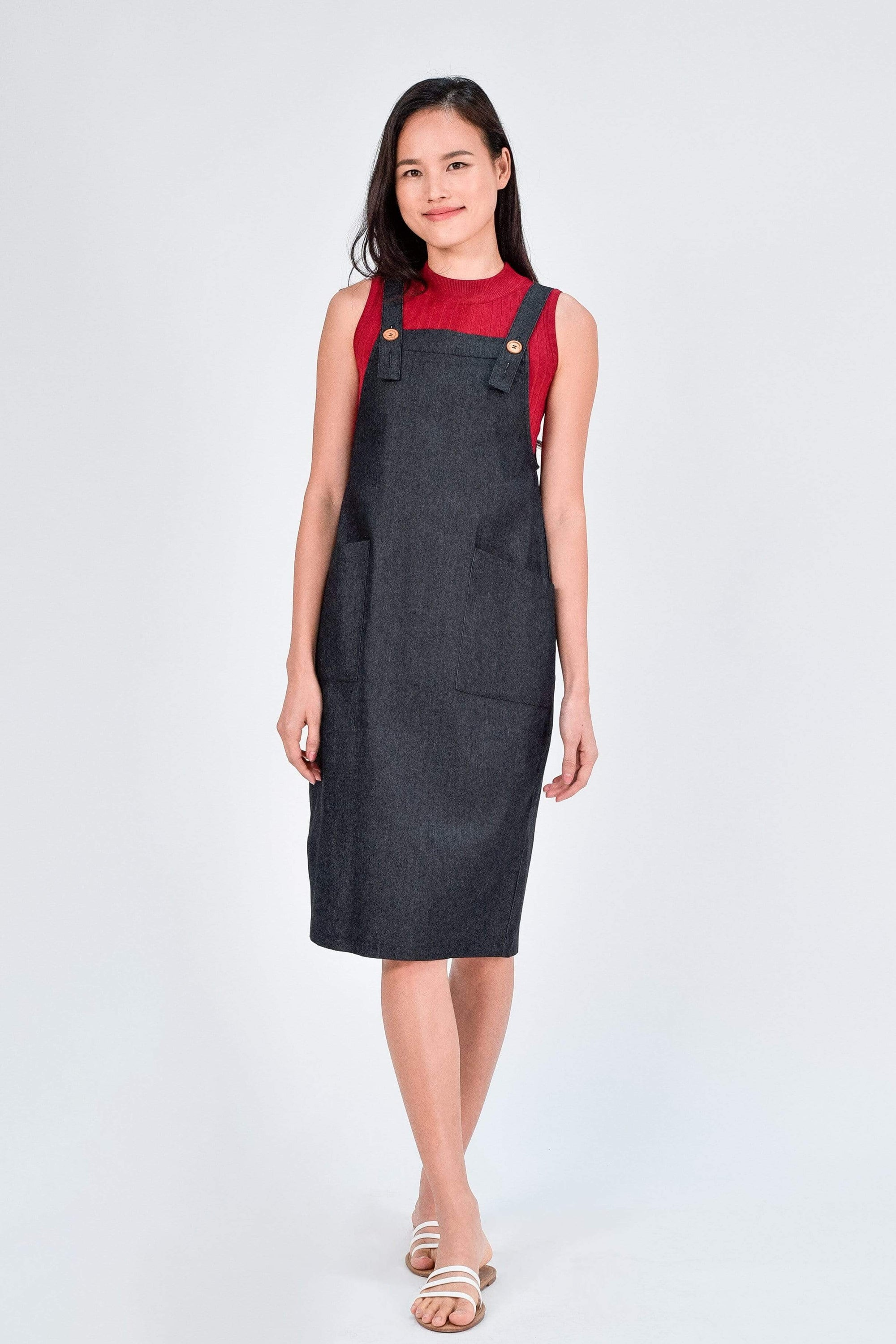 RAINIE DENIM DUNGAREE DRESS IN BLACK