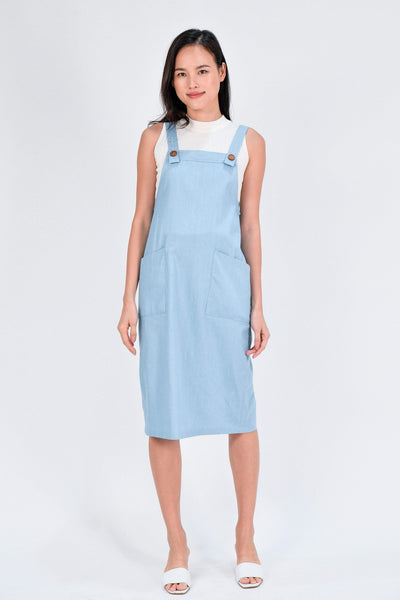 AWE Dresses RAINIE DENIM DUNGAREE DRESS IN LIGHT WASH