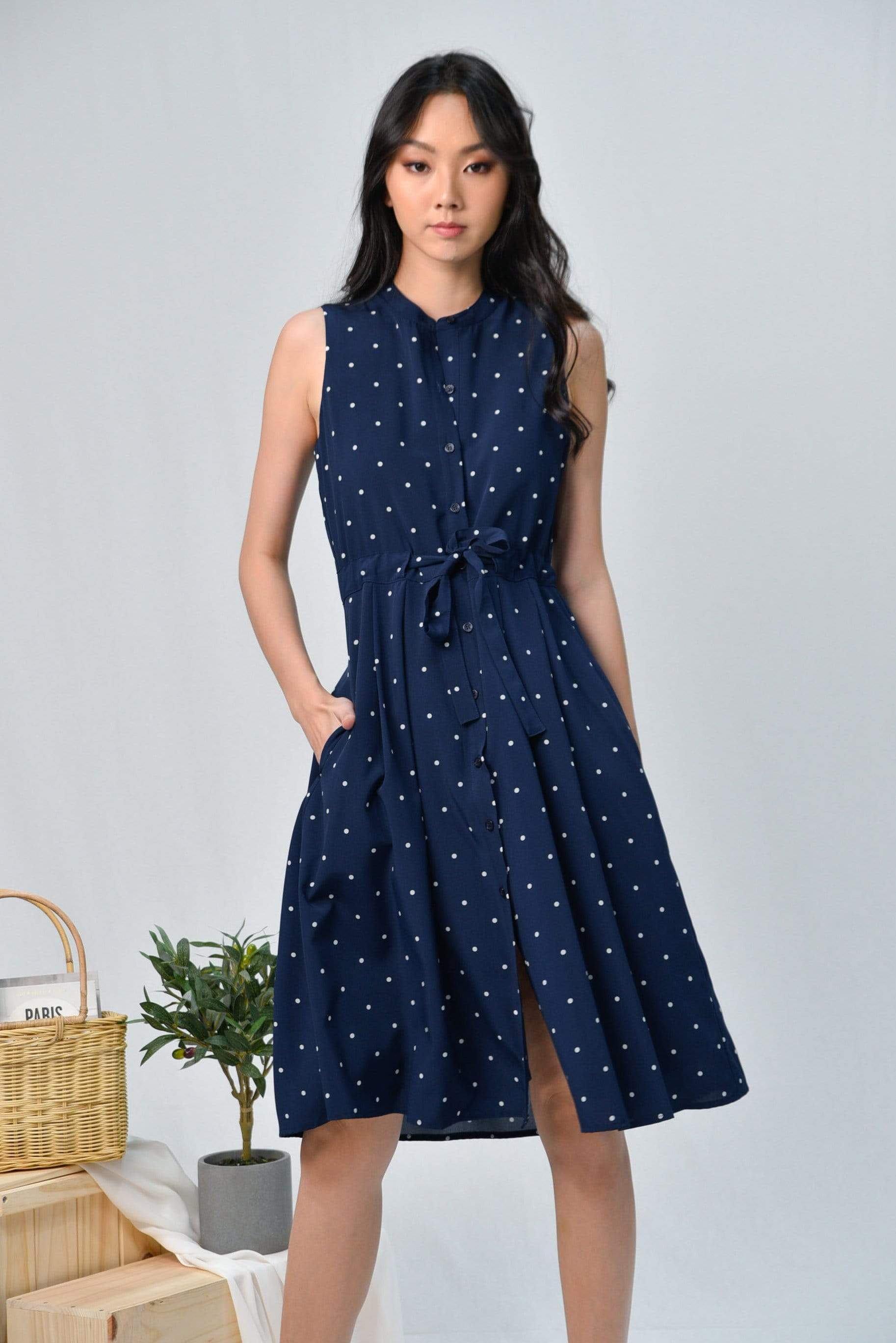 REENA NAVY POLKA DRAWSTRING SHIRT DRESS