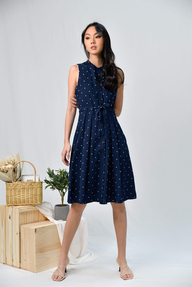 *RESTOCKED* REENA NAVY POLKA DRAWSTRING SHIRT DRESS