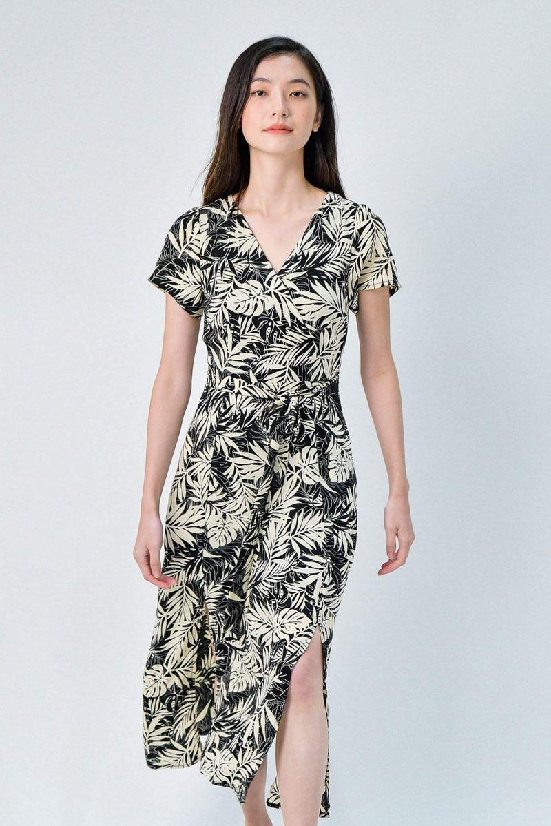 RUMI BLACK FOLIAGE FRONT-SLITS SLEEVED DRESS