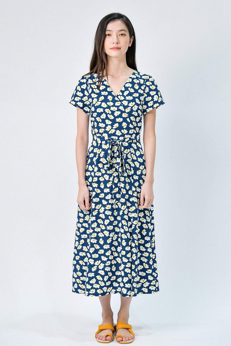 RUMI NAVY DAISY FRONT-SLITS SLEEVED DRESS