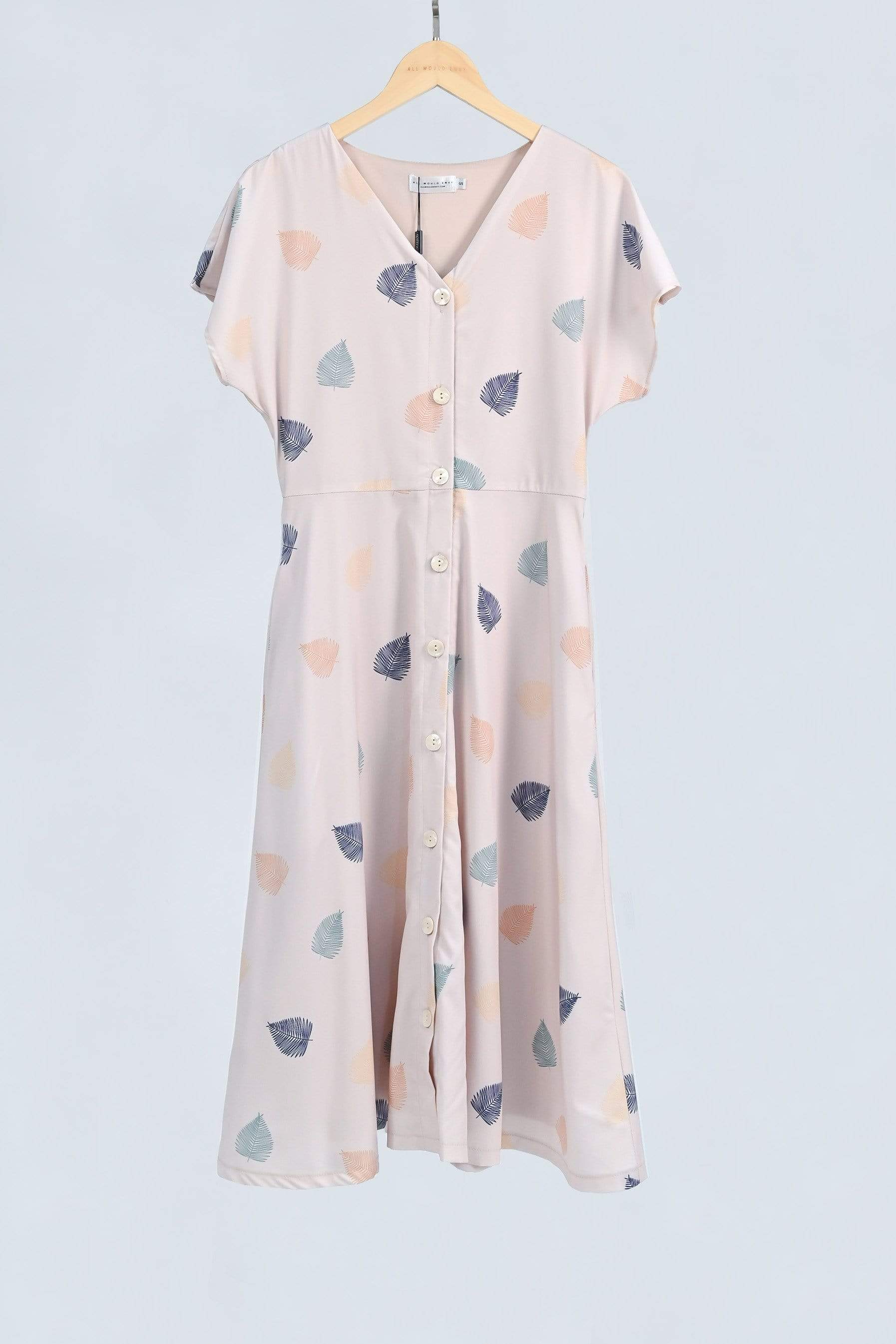 SERA BEIGE LEAF-PRINT BUTTONDOWN SLEEVED DRESS