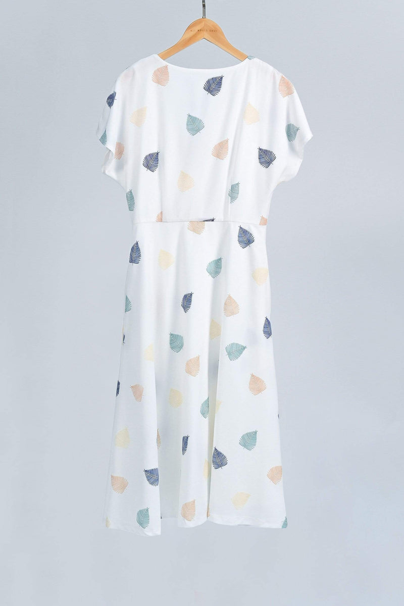 SERA WHITE LEAF-PRINT BUTTONDOWN SLEEVED DRESS