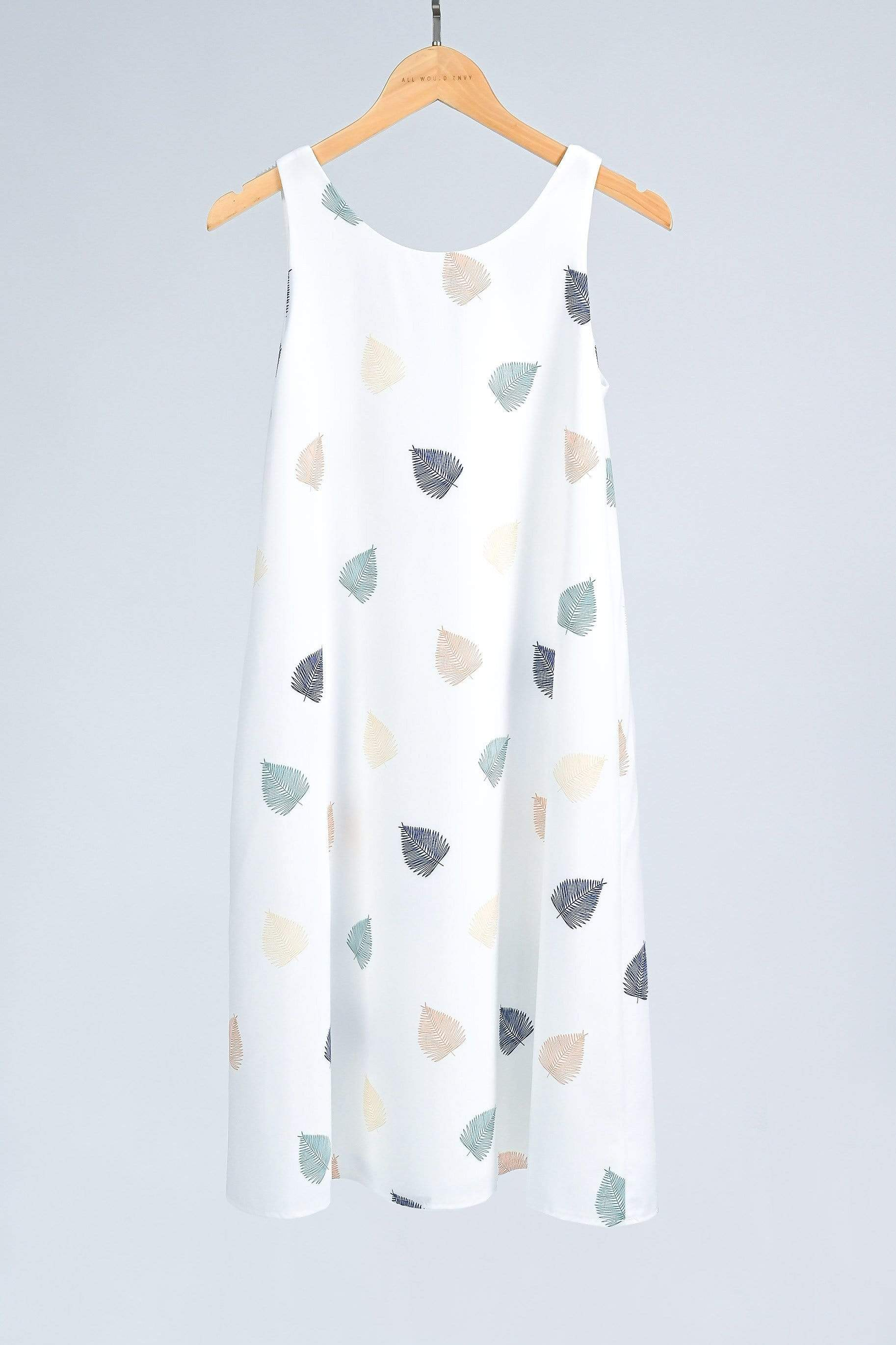 SERA WHITE LEAF-PRINT TWO-WAY A-LINE DRESS