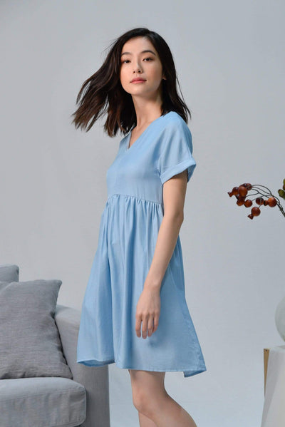 AWE Dresses SHIRLEY BLUE SLEEVED BABYDOLL DRESS
