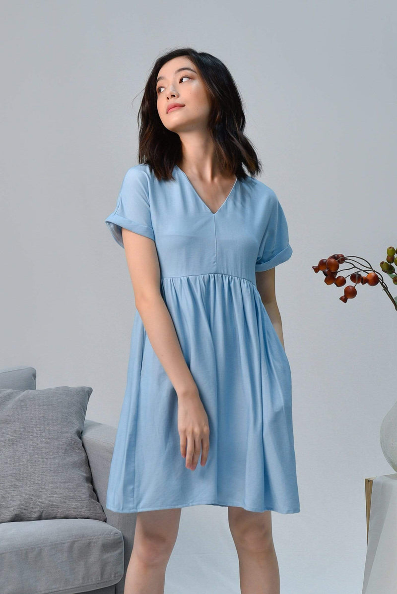 SHIRLEY BLUE SLEEVED BABYDOLL DRESS