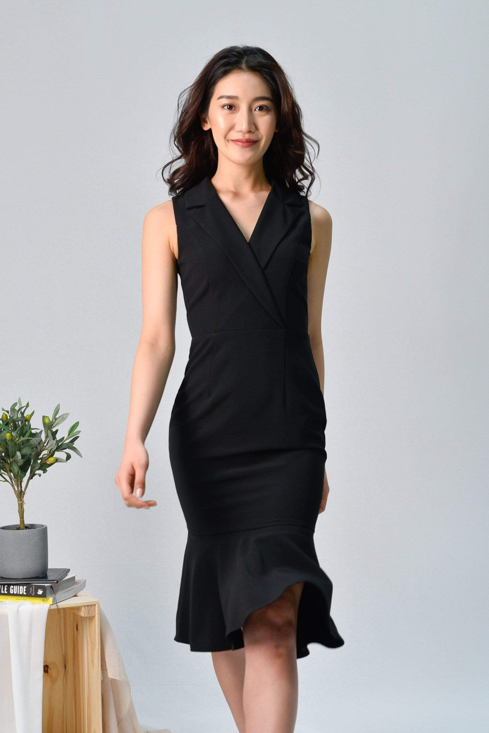 SIENA BLACK TUXEDO MERMAID DRESS