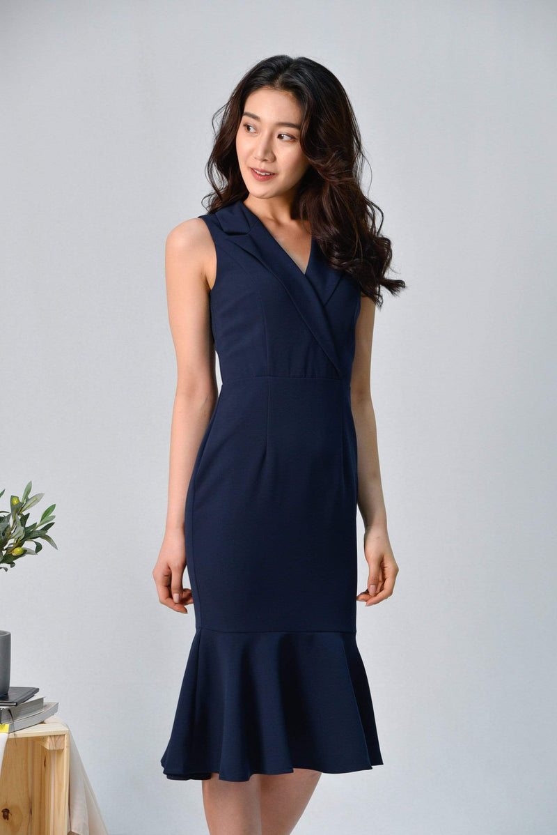 SIENA NAVY TUXEDO MERMAID DRESS