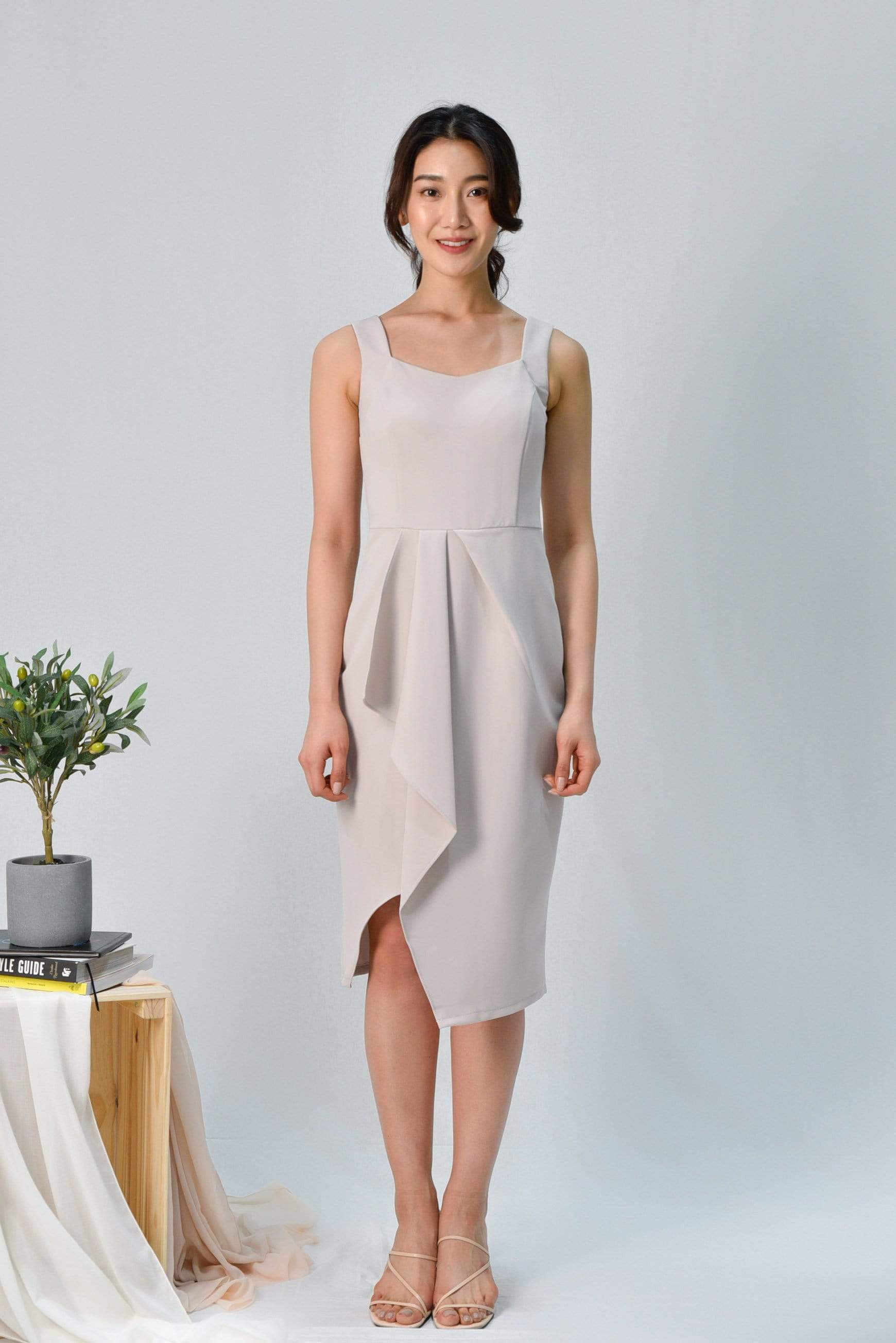 SIGNE BEIGE WATERFALL DRESS