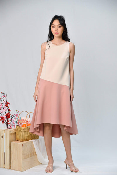 AWE Dresses SINCLAIR PINK COLOURBLOCK DIP-HEM MIDI DRESS