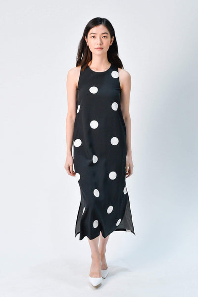 AWE Dresses SKYLER BLACK POLKA SIDE-SLIT MIDI DRESS